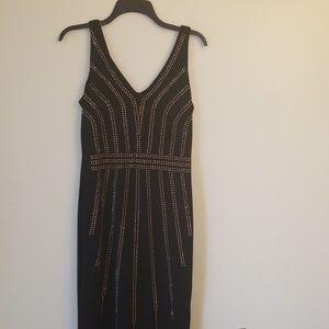 Carmen Women's Black Sleeveless Studded Dress